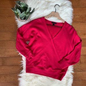 J. Crew | Pink Faux Wrap Crop Sweater sz XS